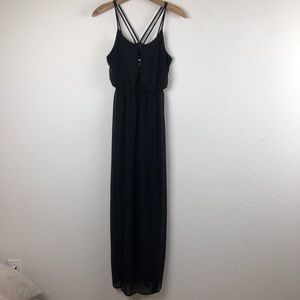 ASTR Maxi Black Dress With Front Slits XS NWT